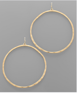 XL Hammered Circle Earrings - Matte Gold