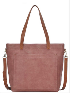 Chic Modern Tote Bag with Crossbody Strap - Mauve