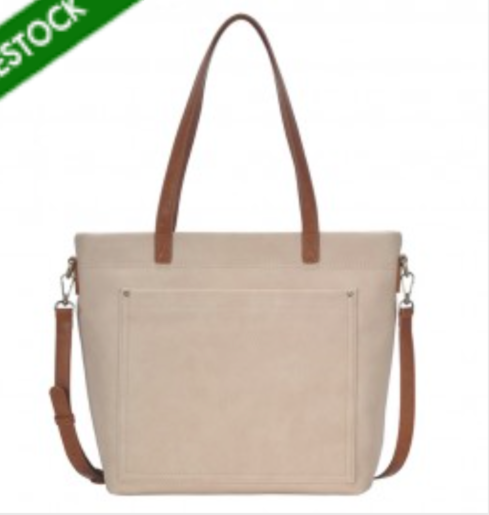 Chic Modern Tote Bag with Crossbody Strap - Cream