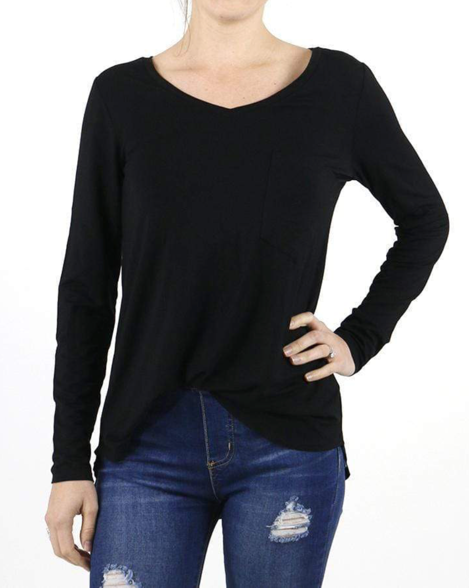 Grace & Lace Long Sleeve Perfect Pocket Tee- Black