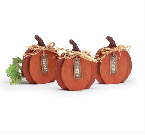 Small Wood Pumpkins with Message Tags