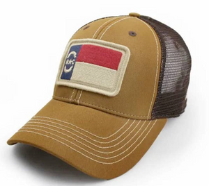 North Carolina Flag Structured Hat, Tobacco Brown