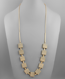 Denise Square Gray Beaded/Matte Gold Necklace