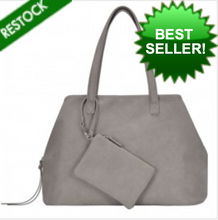 Load image into Gallery viewer, Deluxe Shoulder Tote w/ Wristlet - Light Gray