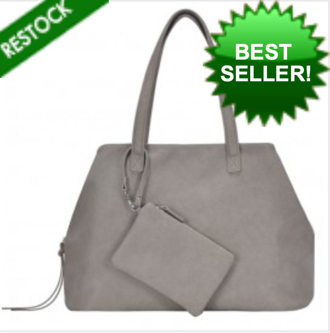 Deluxe Shoulder Tote w/ Wristlet - Light Gray