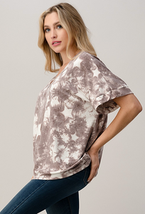 Reach for the Stars- Mauve Tie Dye Star Top