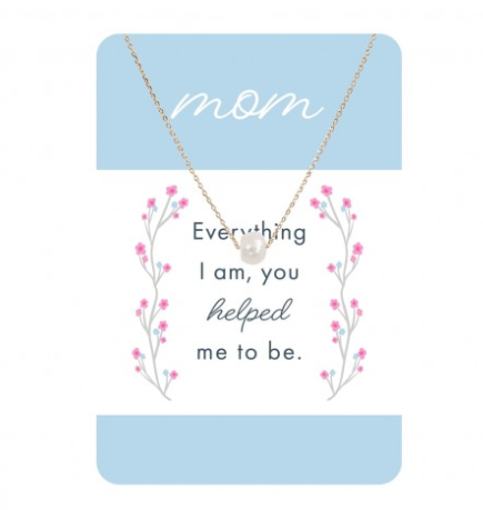 Gold & Dainty Pearl Necklace w/ Mom Card