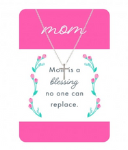 Load image into Gallery viewer, Silver Cross Necklace w/ Mom Card