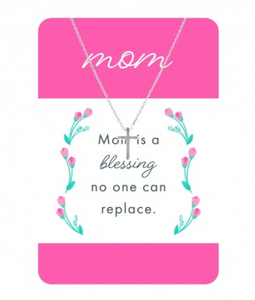 Silver Cross Necklace w/ Mom Card