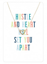 "Load image into Gallery viewer, Gold Heart Necklace & Keepsake Card ""Hustle and Heart"""
