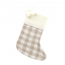 Load image into Gallery viewer, Tan Check Knit Stocking by Viv & Lou