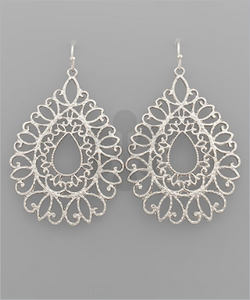 Crystal Silver Scalloped Earrings