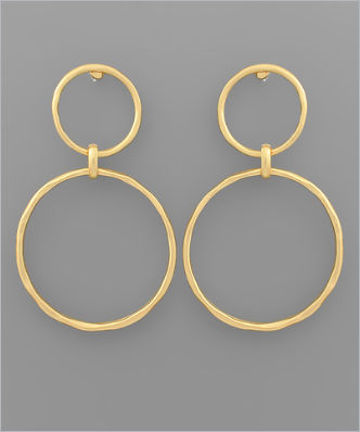 Matte Gold Double Circle Earrings