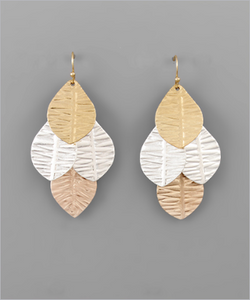 Worn Silver & Gold Layered Leaf Earrings
