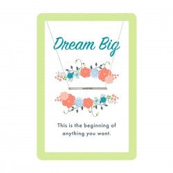 Silver DREAM BIG Bar Necklace & Card Set