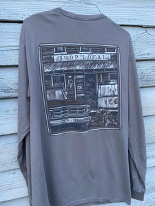 Shop Local -Gray- Long Sleeve Tee by Bella Cotton