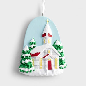 Snowy Church Christmas Ornament