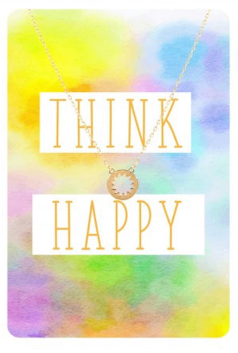 "Gold Sunburst Necklace & ""Think Happy"" Card Set"