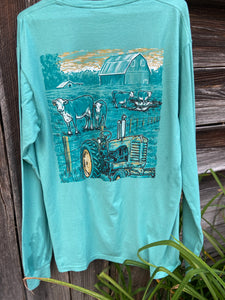 Cow Pasture - Green-  Long Sleeve Tee by Bella Cotton