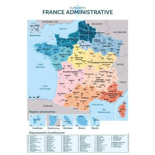 Planche décorative - Carte de France administrative
