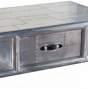 Aviation Aluminium Coffee Table With Drawer