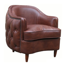 Load image into Gallery viewer, Antique Brown Leather Club Chair