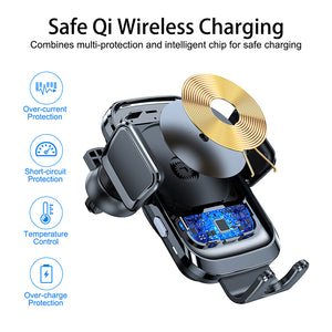 2020 New Design Technology Fast Charging 15W 10W Auto Clamping Wireless Car Charger