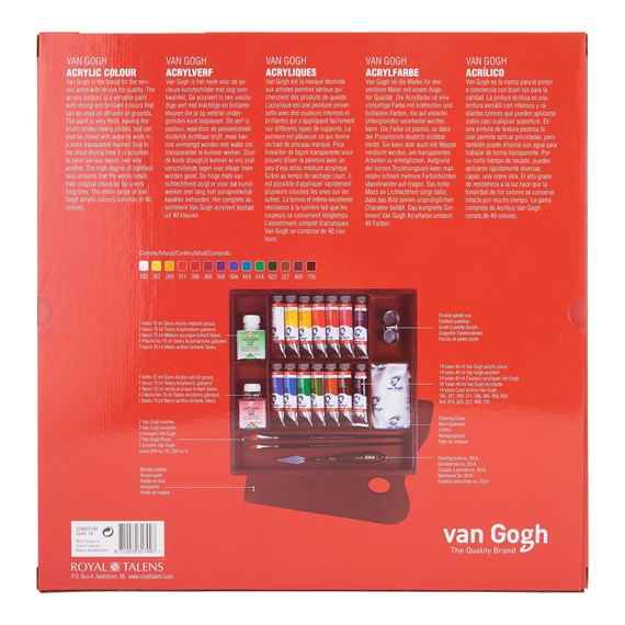Van Gogh Acrylic Colour Wooden Box Inspiration with 14 Colours in 40ml Tube + Accessories GAC14