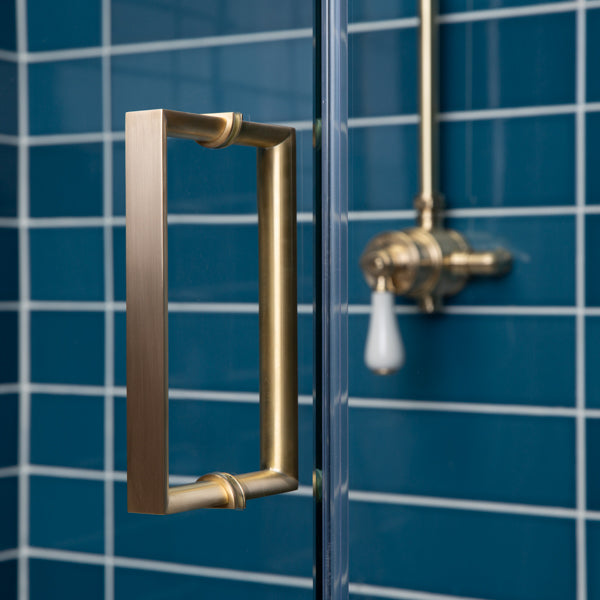 Rutland London Cromwell Recessed Brass Shower Door