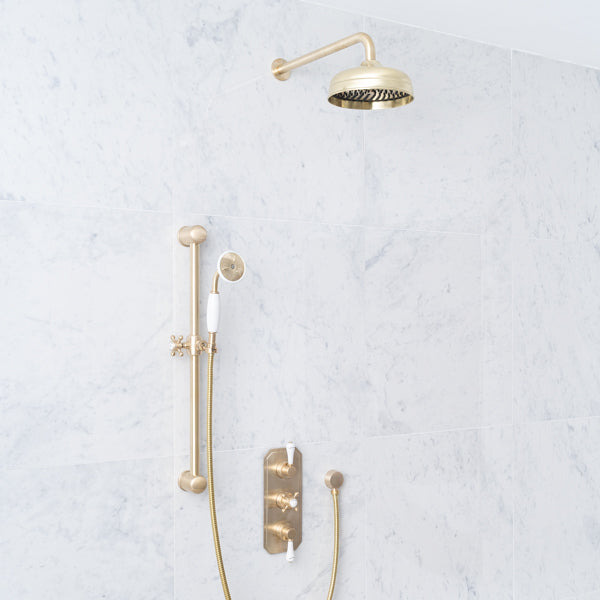 Rutland London Euston White Ceramic Lever Concealed Shower Set
