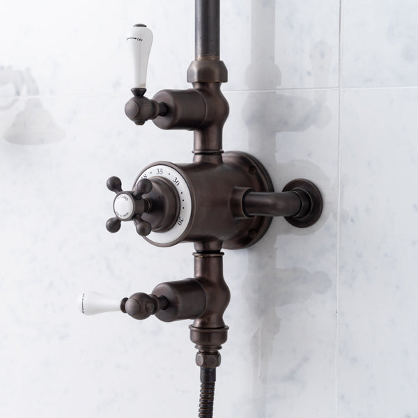Rutland London Hamilton White Ceramic Lever Exposed Shower Valve