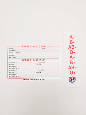 Tact-Med Info Emergency Card / Blood Type Sticker Pack - Tact-Med Info, LLC