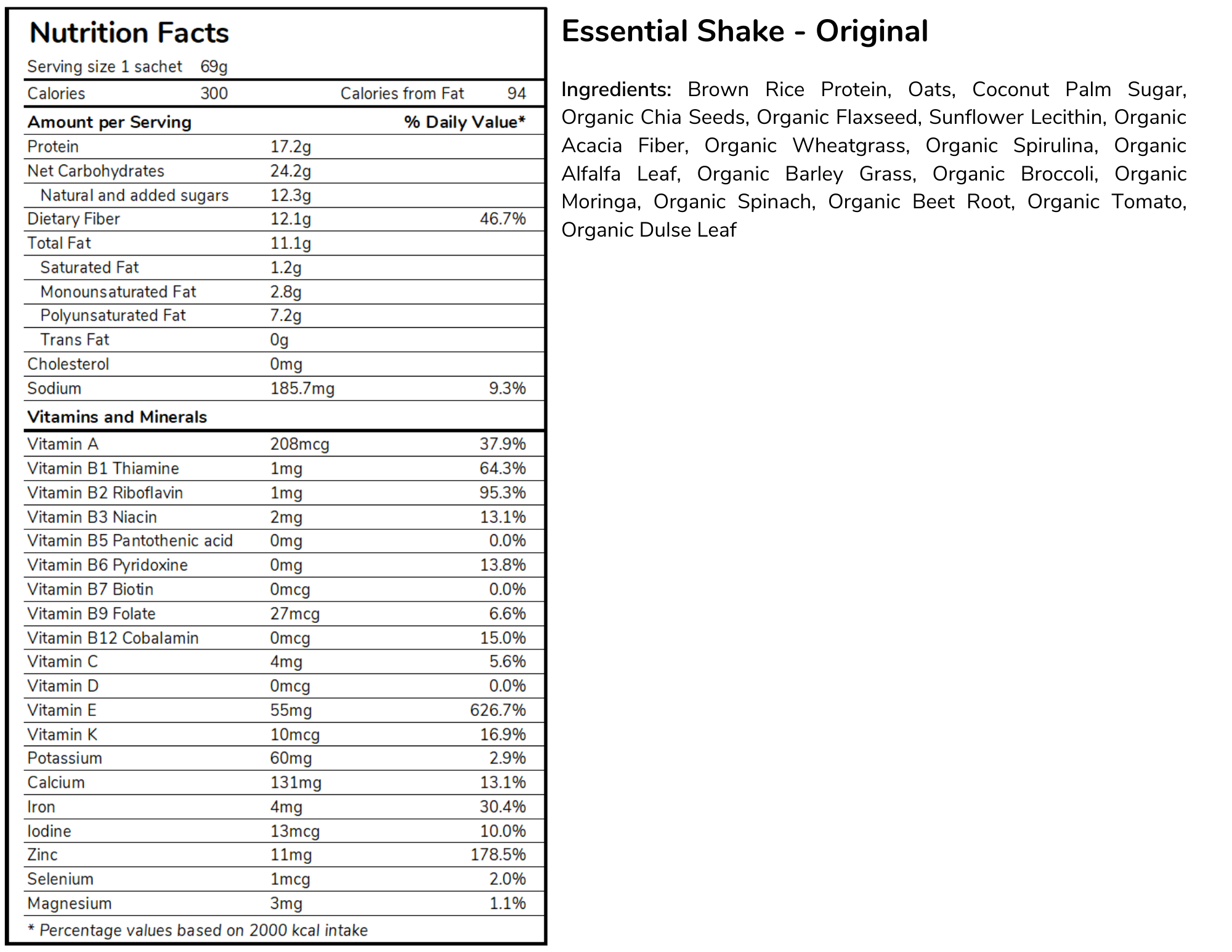 Essential Meal Replacement Shakes Nutritional Table