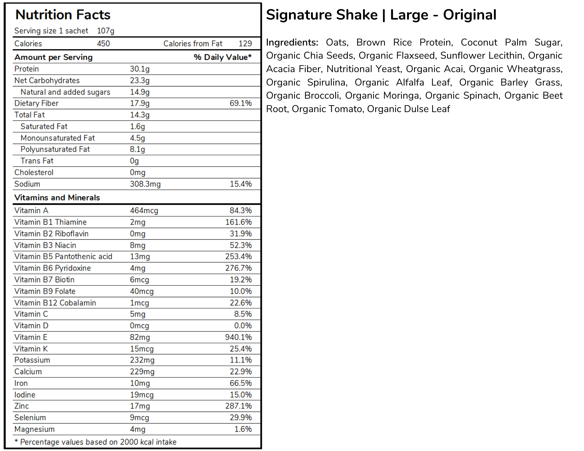 Signature Meal Replacement Shakes Large Size Standard Formula Nutritional Table