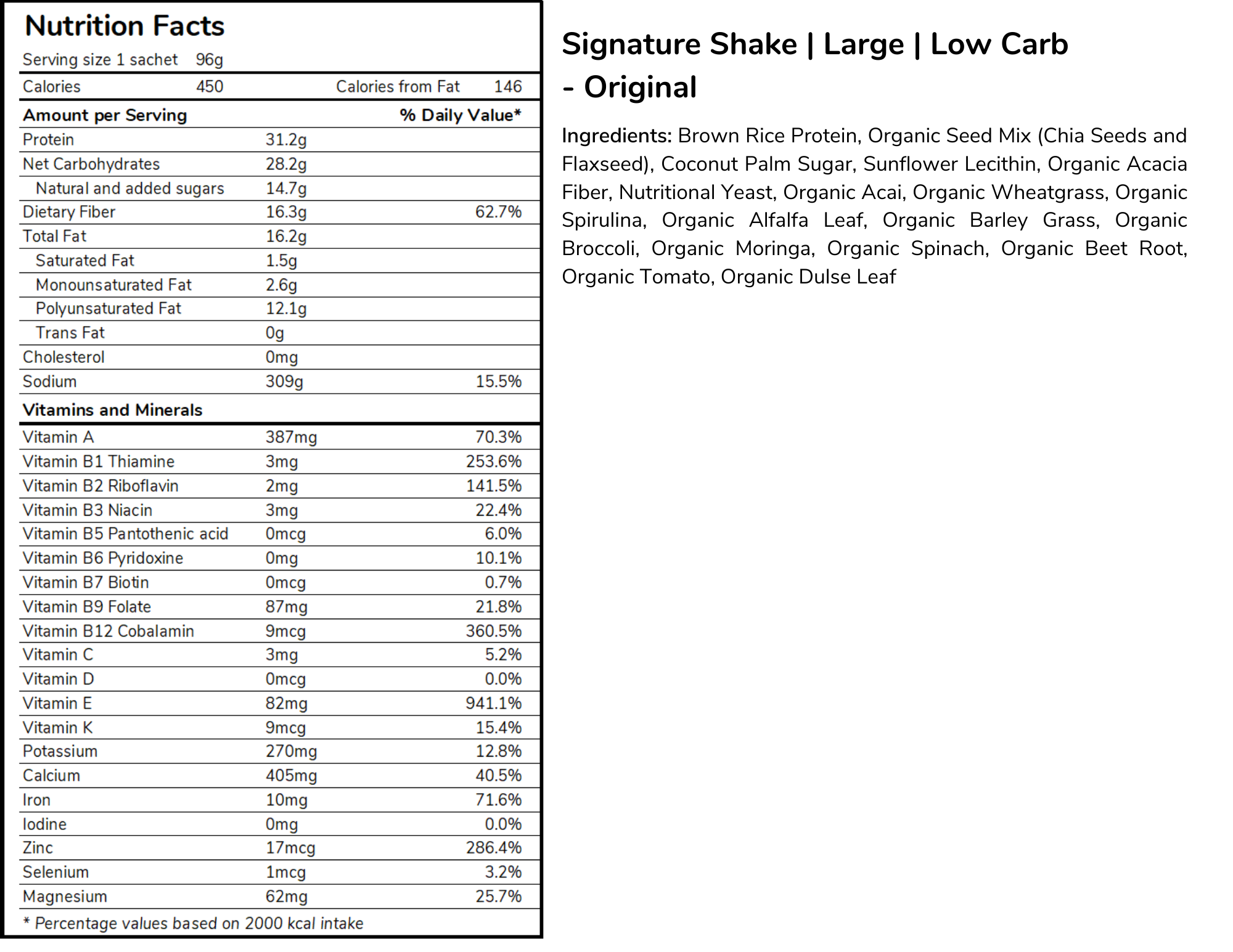 Signature meal replacement shakes large size low carb formula nutritional panel