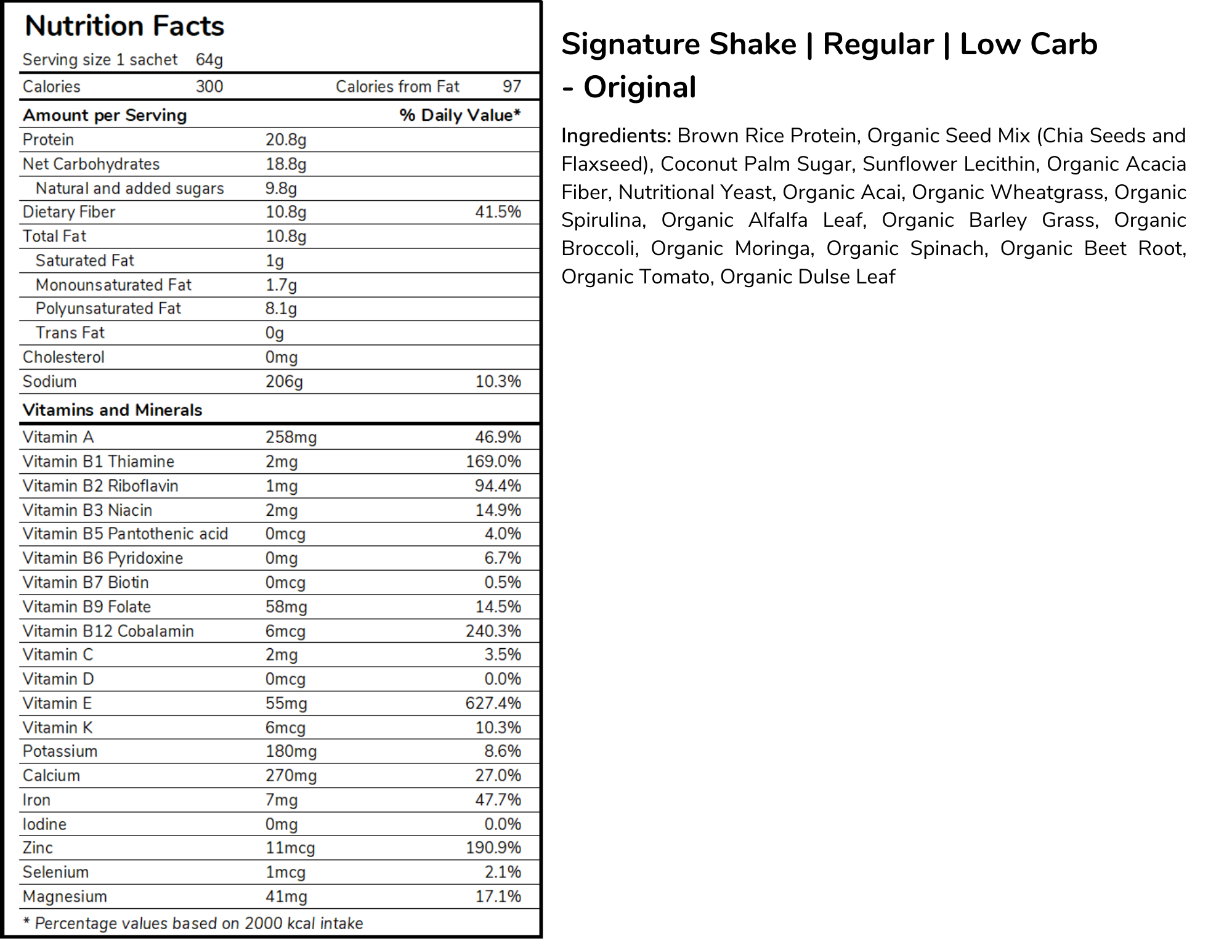 Signature meal replacement shakes regular size low carb formula nutritional panel