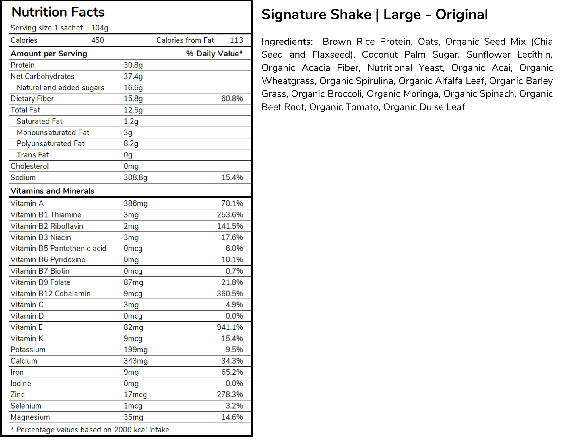 Signature meal replacement shakes large size standard formula nutritional panel