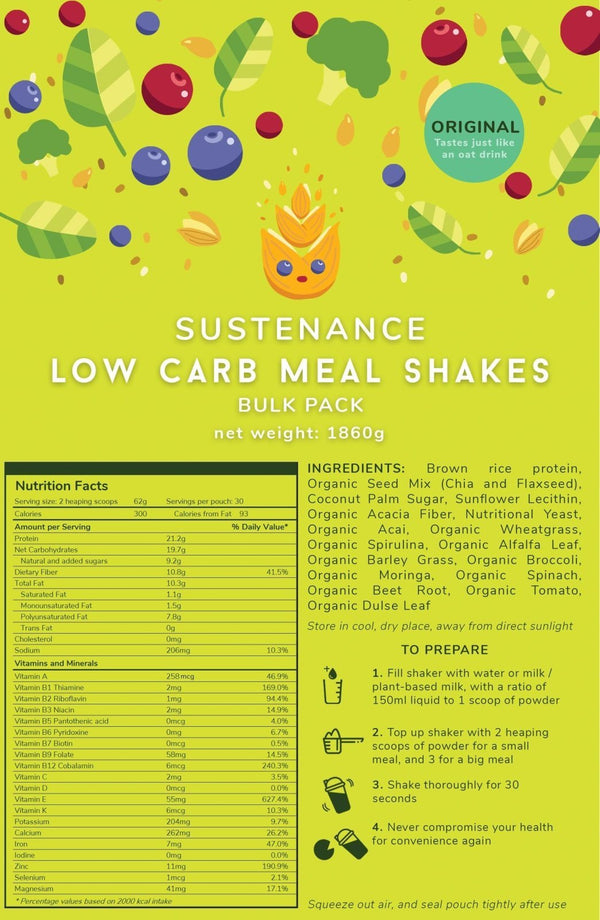 Low Carb Signature Shakes | Bulk Pack (30 servings) - Sustenance meal replacements