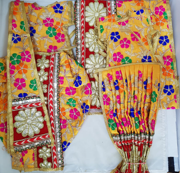"9"" Radha Krishna outfit Set in Yellow Rajasthani Multi-Colour Floral thread work"
