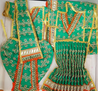 "9"" Radha Krishna outfit Set in Green with orange boarder"