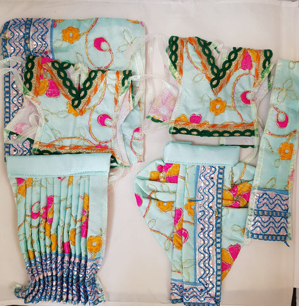 "7"" Radha Krishna outfit Set in Baby Blue Colour with Pink and yellow flower Pattern"