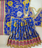 "9"" Durga Maa Dress in Navy Blue with Yellow Flower Pattern & Gold thread work"
