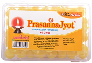 Prasanna Jyot - Pre ready made diyas in ghee ready for puja.  Pack of 60 (small size)