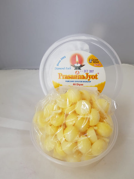 Prasanna Jyot - Pre ready made diyas in ghee ready for puja.  Pack of 60