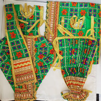 "9"" Radha Krishna outfit Set in Green Check pattern"