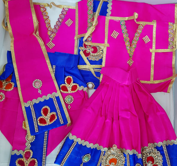 "9"" Radha Krishna outfit Set in Pink & Navy Blue"