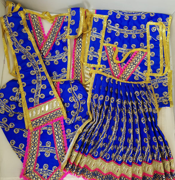 "9"" Radha Krishna outfit Set in Navy Blue with Pink Boarder"