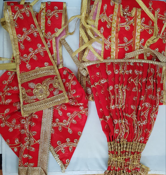 "9"" Radha Krishna outfit Set in Red with Gold Thread work"