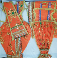 "9"" Radha Krishna outfit Set in orange with Gold thread work"