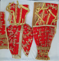 "7"" Radha Krishna outfit Set in Red with gold thread flower work"